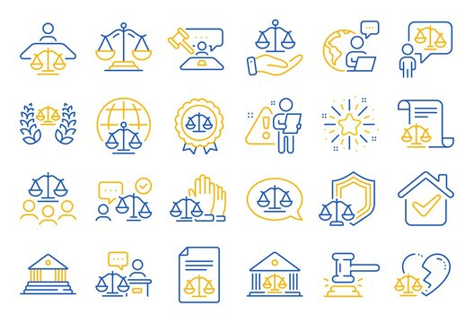 Court line icons. Scales of Justice, Lawyer and Judge. Hammer, Law and Petition document set icons. Judgment, justice, court injunction. Gavel judge hammer, rulings, presiding officer. Vector