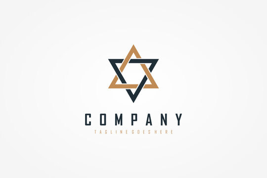 Star Logo. Blue and Gold Geometric Shape Star of David isolated on White Background. Flat Vector Illustration Design Template Element.
