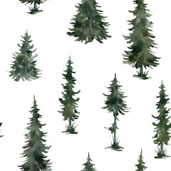 Watercolor seamless pattern with winter trees. Spruce, pine, fir,  Christmas tree. Nature background. Forest landscape.