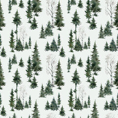 Watercolor seamless pattern with winter trees. Spruce, birch, pine, Christmas tree. Nature background. Forest landscape.