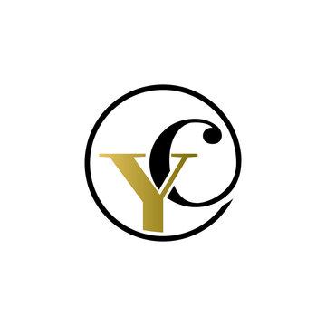 yc luxury logo design vector icon symbol circle