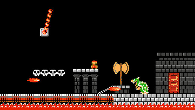 Mario in the Bowser Castle, art of Super Mario Bros classic video game