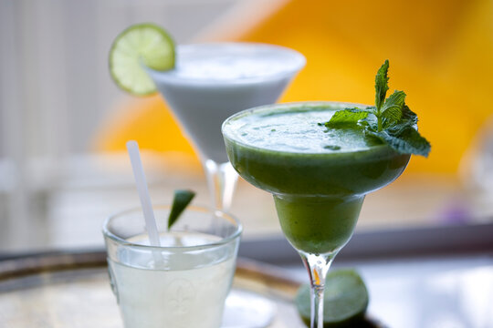 Cocktails, rum with mint and pineapple, daiquiri and Cartagena limeade