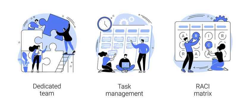 Developers team management abstract concept vector illustration set. Dedicated team, task management, RACI matrix, outsource, productivity online platform, responsibility chart abstract metaphor.