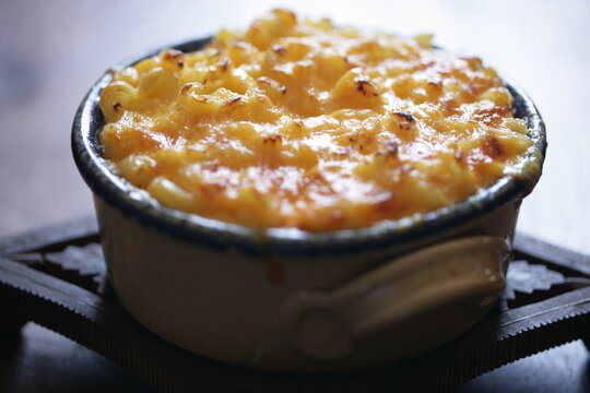 Close up of macaroni and cheese baked in pot