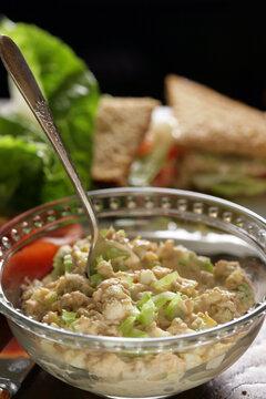 Close up of tuna salad in bowl