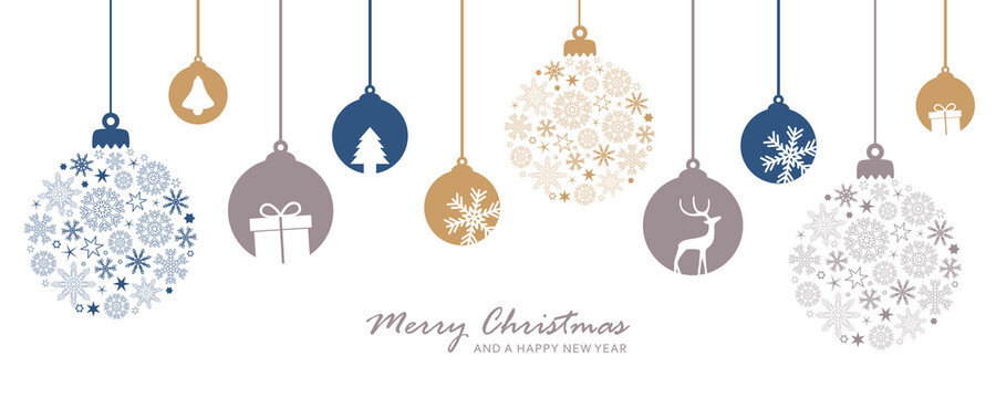 merry christmas card with hanging ball decoratoin vector illustration EPS10