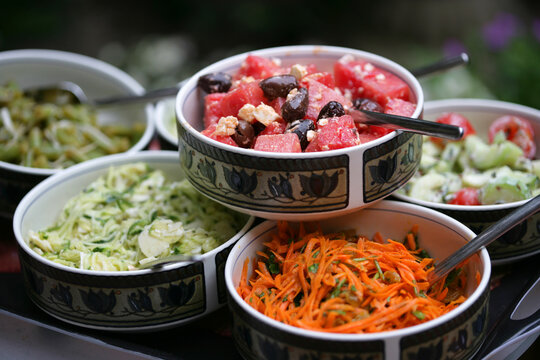 Close up of salad choice in buffet