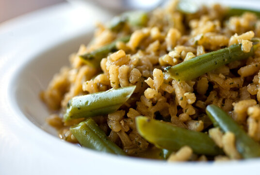 Close up of green beans risotto