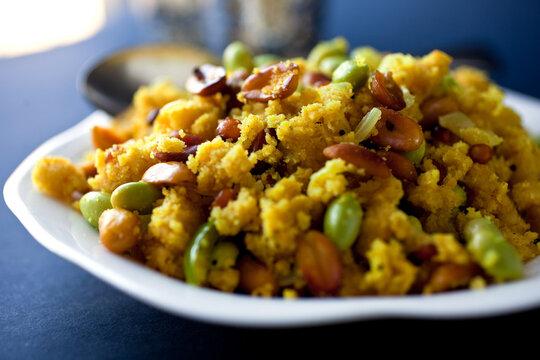 Close up of Upma traditional Indian dish