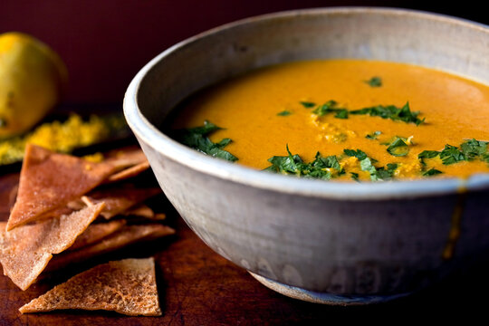 Close up of lemony carrot soup bowl