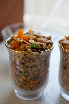 Olive oil granola with dried apricot and pistachios