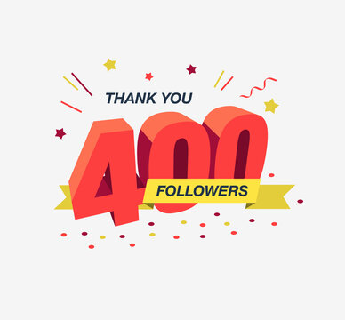 Thank you 400 social media followers, modern flat banner. Easy to use for your website or presentation.