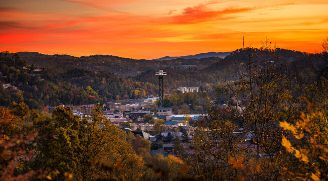 Gatlinburg overlook during sunset