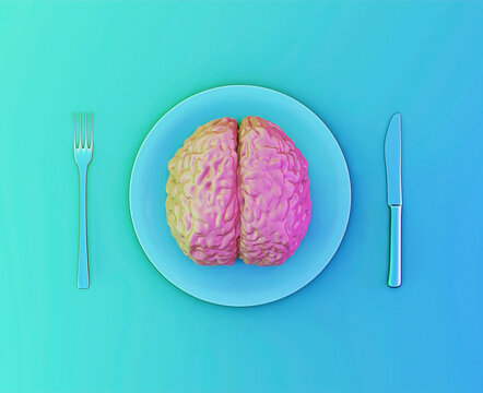 The human brain as food, abuse, love relationship or brainstorm concept. Human brain on a plate with a fork and a knife, 3d illustration