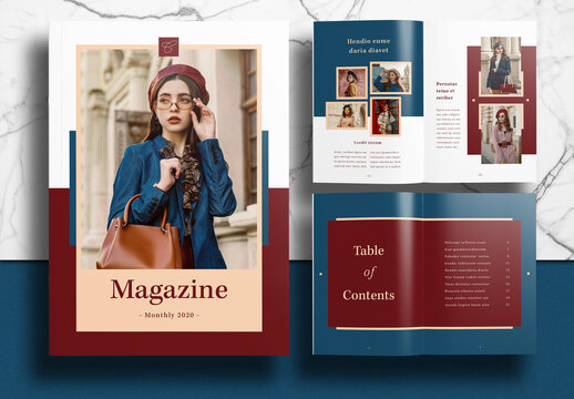 Modern Magazine Layout with Red and Blue Accents