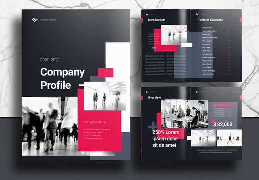 Company Profile Booklet Layout with Black and Pink Accents