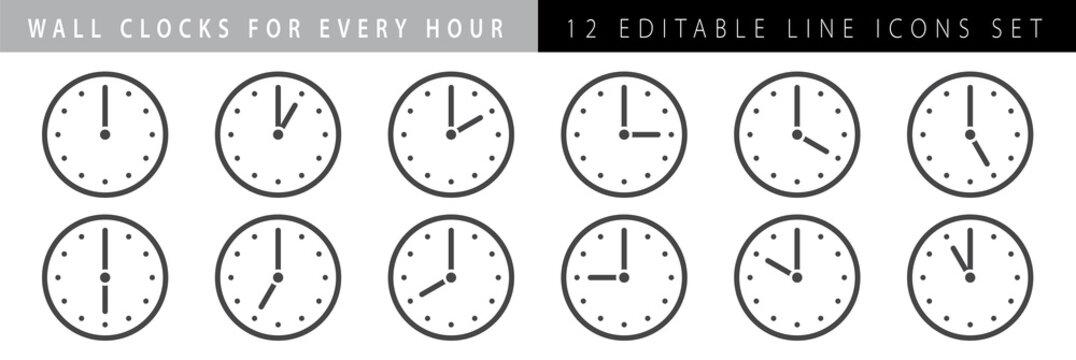 horizontal set of analog clock icon notifying each hour isolated on white,vector illustration