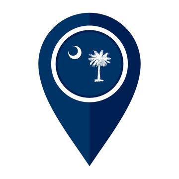 flat map marker icon with south carolina flag isolated on white background