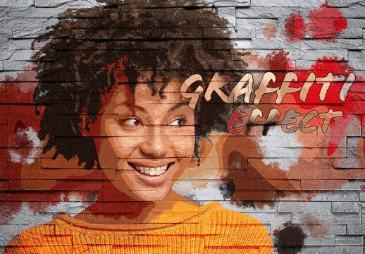 Graffiti Photo Effect on Brick Wall Texture Mockup