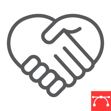 Heart handshake line icon, love and help, handshake sign vector graphics, editable stroke linear icon, eps 10.