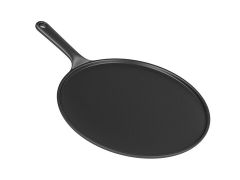 Cast iron pancake pan isolated on white background
