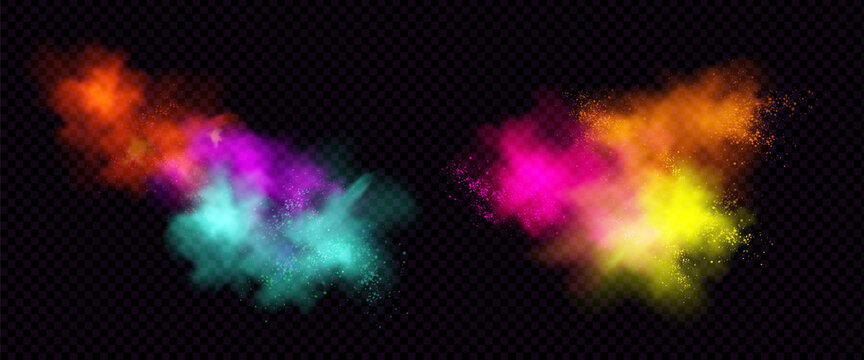 Explosions of color powder or dust with particles. Vector realistic set of paint splashes, burst effect of colorful powder clouds and spray isolated on transparent background