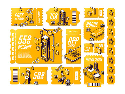 Isometric discount coupons for free oil change, tear-off gift vouchers for car service, off price certificates with gas station and coins, 3d vector line art tickets, offer for vehicle maintenance set