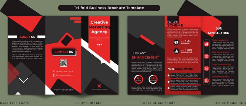 Corporate trifold business brochure template layout