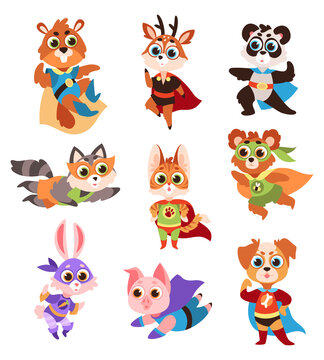 Hero animals characters. Cute children animals superheroes in active poses collection, fun kids creatures panda and raccoon, deer and cat, hare and pig in comics costume flat vector set