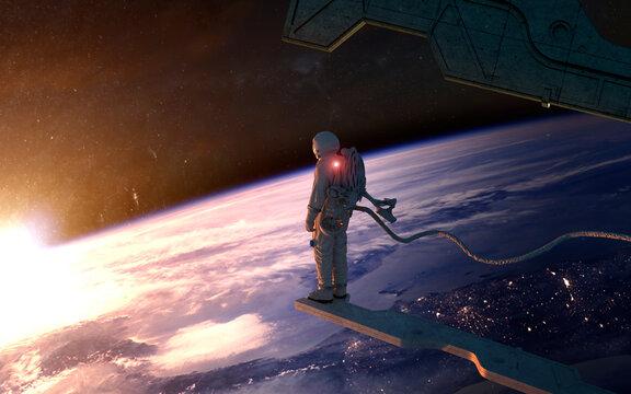 Person standing in futuristic spaceship control deck