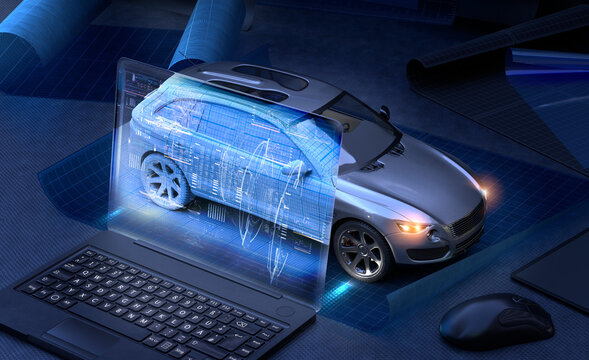 Laptop screen projected on to car prototype