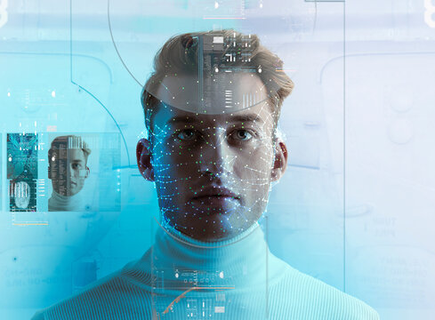 Futuristic facial recognition technology  scanning man's face