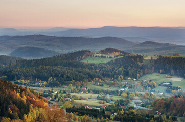 View from Eagle shelter at Mt Wielka Sowa just after sunset, Owl Mountains, Sudetes, Poland