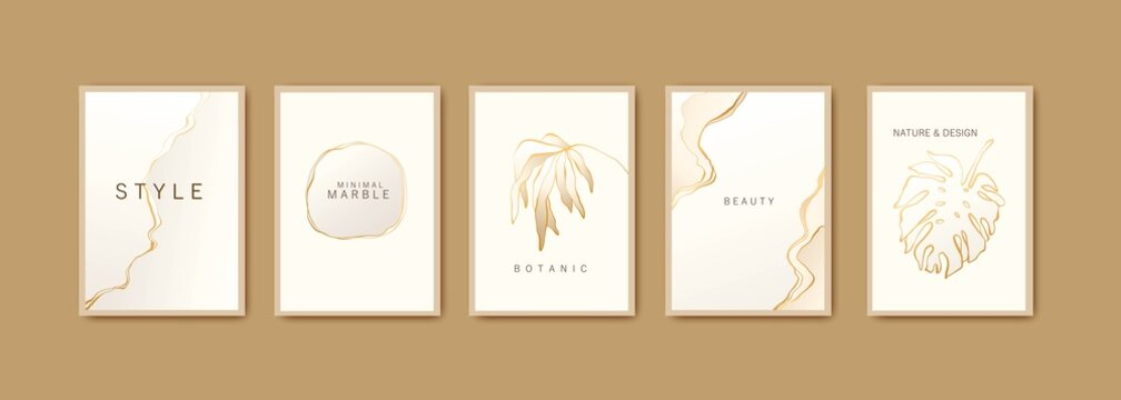 White and gold minimal marble texture concept. Set of backgrounds for card, invitation, cover, wedding design.
