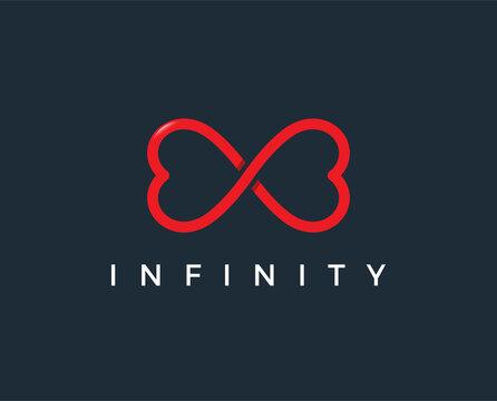 minimal love infinity logo template - vector illustration