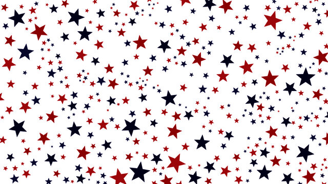 Abstract red & blue stars seamless pattern vector design. Minimalist star pattern, red and blue various stars graphic design vector shapes. USA flag theme for poster, wallpaper or background design