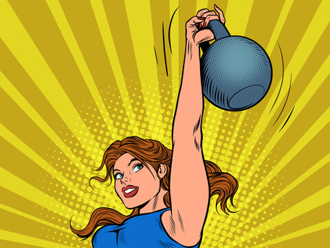 A strong woman lifts up a heavy weight