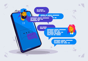 Fototapeta Vector illustration of online chat between a man and a woman with avatars, cloud for text in a messenger in a smartphone obraz