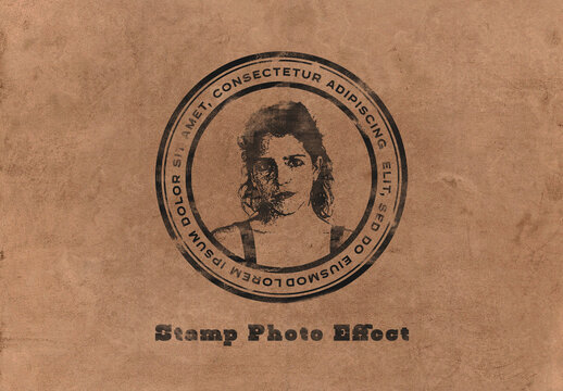 Stamp Photo Effect Mockup