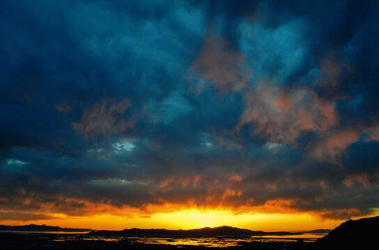 Cloudy sunset overlooking Antelope Island from Ensign Peak, Utah