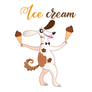 Fun vector illustration with a dog and ice cream o
