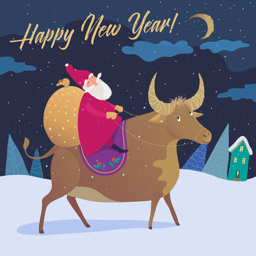 Vector illustration of Santa on the Bull rides with gifts to congratulate the New Year.