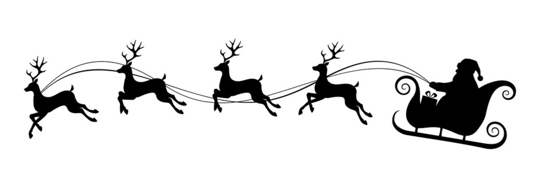 Vector Christmas black and white illustration with Santa Claus riding his sleigh pulled by reindeers.