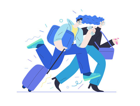 Travel insurance -medical insurance illustration -modern flat vector concept digital illustration - harrying young couple running with suitcases in the airport rush
