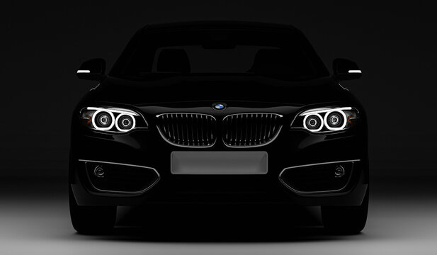 black bmw 2er car with headlights isolated on gray background, cgi render image, rendered 09.11.2020 in Rostock
