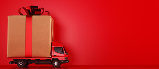 Big Christmas gift packages on a red truck ready to be delivered