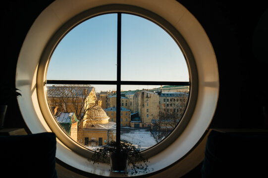 A View From A Window on a sunny winter day. Saint Petersburg. Russia.