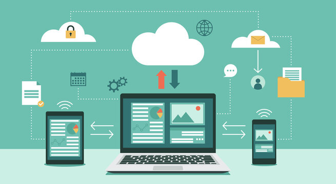 Cloud computing technology network with laptop, tablet, and smartphone, Online devices upload, download information, data in database on cloud services, vector flat illustration