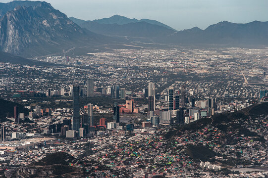 From above shot of Monterrey cityscape against the giant mountain